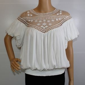 Free People White Crochet Trim Boho Blouse. Sz M.